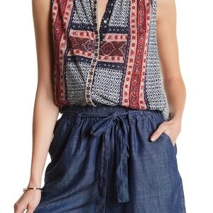Lucky Brand Embroidered Border Print Tank